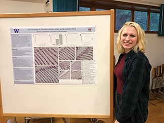 Young woman with blonde hair standing next to a scientific poster for presentation.