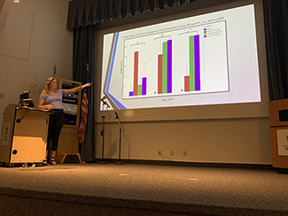 Summer REU Student Sarah Schmidt presents her research on the efficacy of bacteriophages on larval survival in oysters.